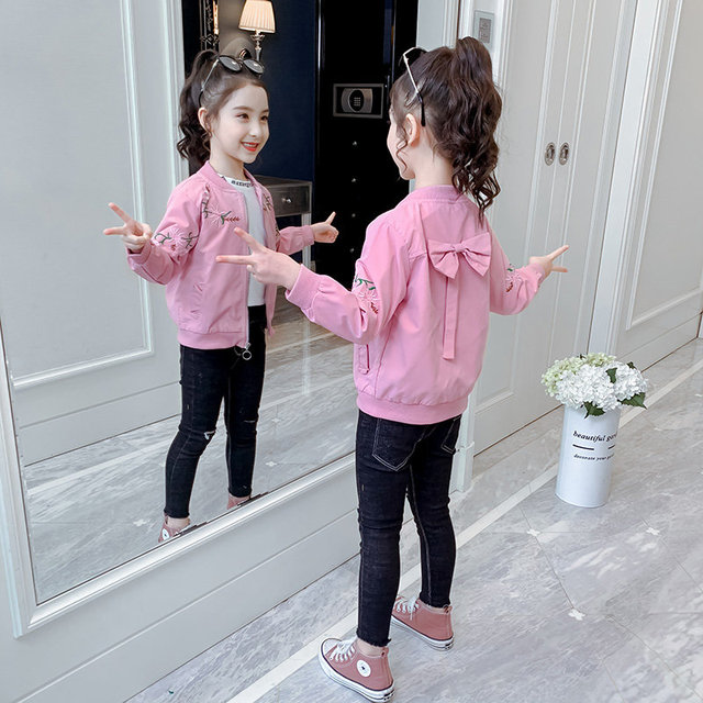 Jackets for Teen Girls Back Big Bow Pink Jackets Coats Embroidered Jacket with Flowers New Design Children Clothing Outerwear