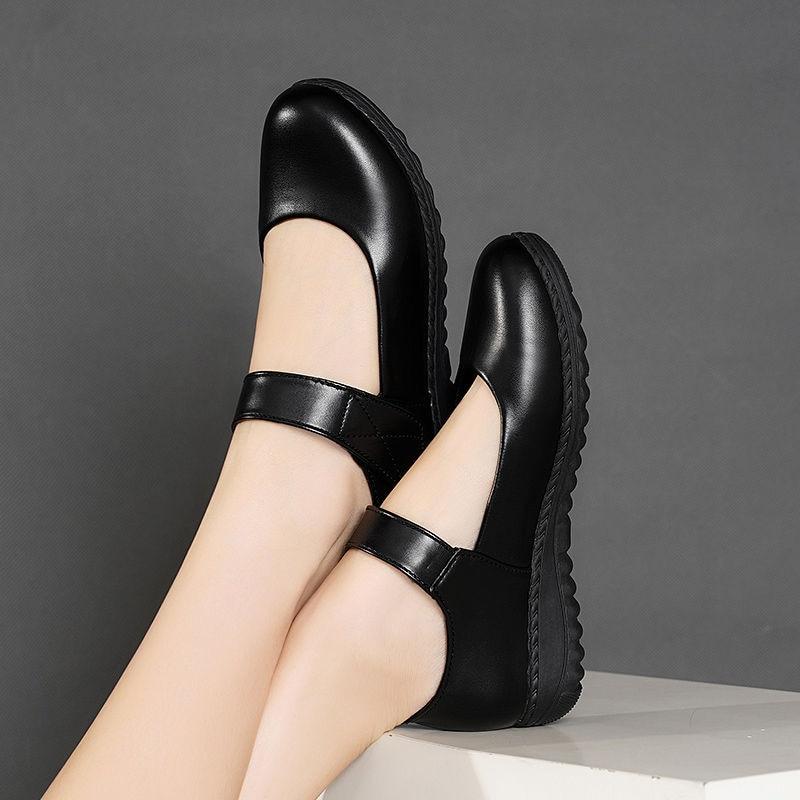 Милые однотонные черные кожаные туфли на плоской подошве для девочек; сезон весна; коллекция 2020 года; модные классические кожаные туфли на п...
