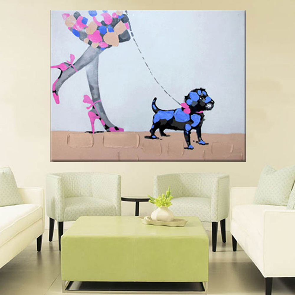 Ручная роспись маслом настенная живопись девушка и собака домашнее украшение Современная мультяшная картина маслом на холсте