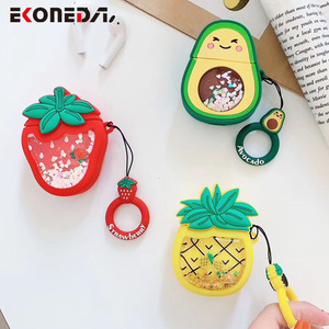 Image 1 - EKONEDA Liquid Glitter Protective Case For Airpods Strawberry Pineapple Avocado Silicone Cover For Airpods Case airpod pro shell
