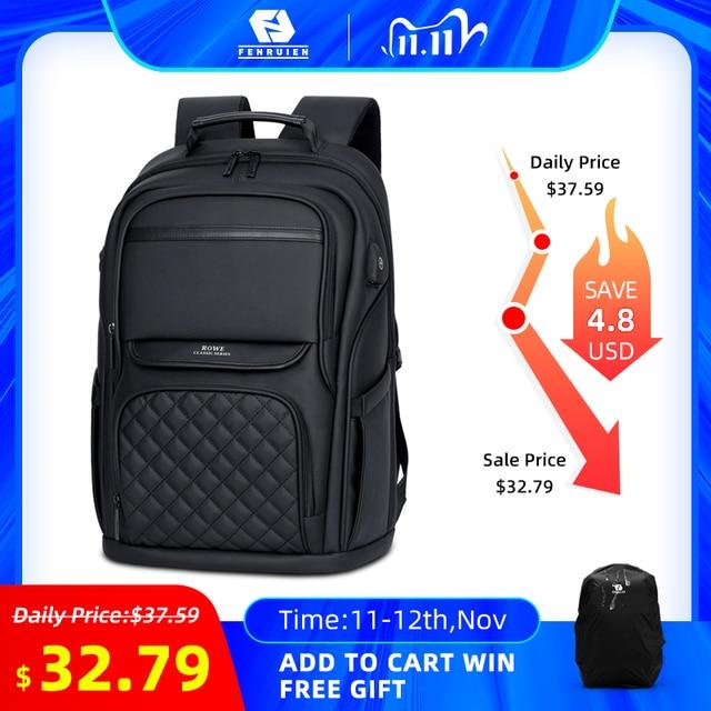 Fenruien mode hommes sac à dos multifonctionnel étanche 15.6 pouces pochette dordinateur USB charge sac de voyage décontracté femmes cartable
