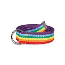 Moda unissex duplo anel d-tipo fivela arco-íris tira webbing casual selvagem decorativa lona cinto feminino liga círculo cinta fina