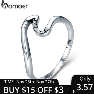 [Coupon $15 OFF $3] BAMOER Authentic 100% 925 Sterling Silver Geometric Wave Finger Rings for Women Gift S925 SCR378