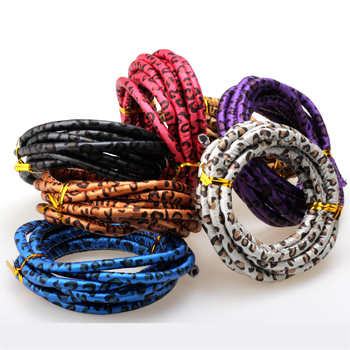 OlingArt 6mm 2m / lot leopard print style DIY necklace bracelet craft jewelry making PU round leather rope