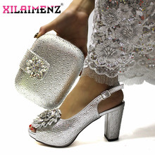 Mature Style Italian Lady Shoes and Bag Set in Silver Color High Quality Nigerian MaMa Shoes and Bag to Match for Wedding(China)