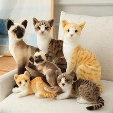 Simulação bonito gato boneca de pelúcia recheado siamese gatinho animal macio fofinho brinquedo dos desenhos animados brinquedos de pelúcia para crianças presente
