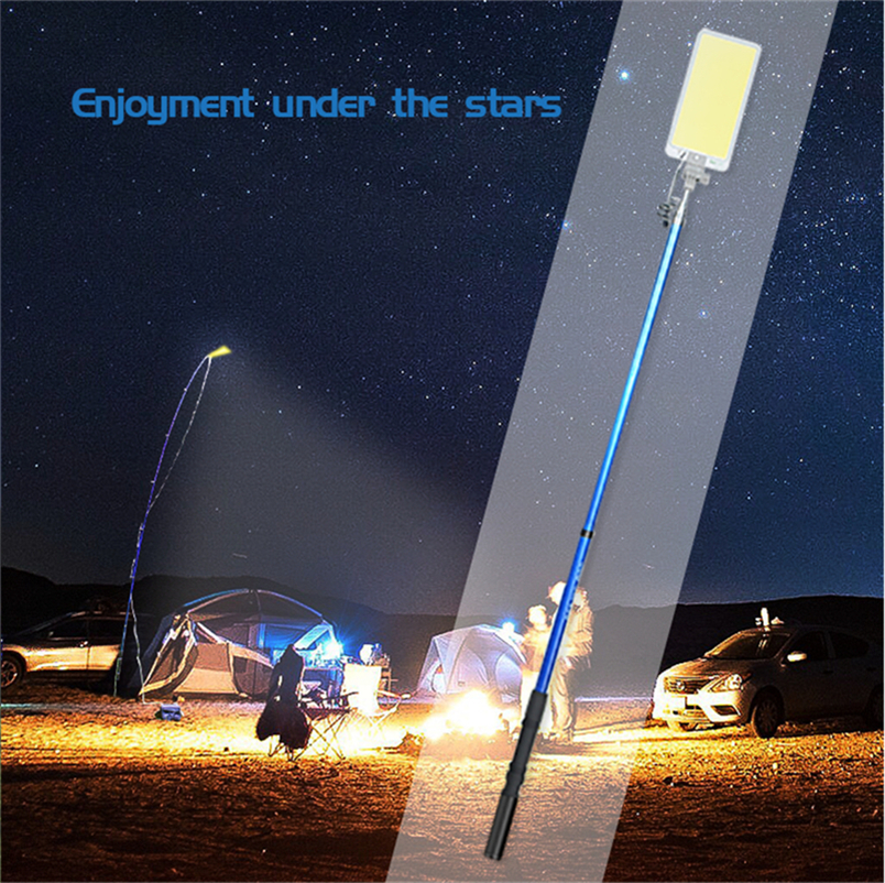 Outdoors Removable Emergency Lighting 47W LED Spotlight COB  Double  Rechargeable Ip65 Work Lamp 4.5m Telescopic Rod