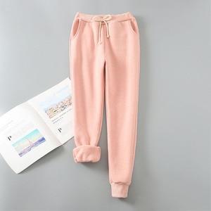 Image 4 - Pantalones harén de Cachemira para mujer, pantalón cálido, informal, cálido, de piel de cordero, pantalón suelto de mujer 2019