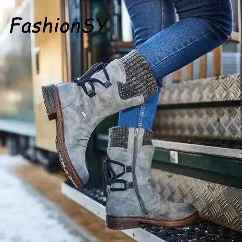 חם נשים מגפי 2019 סתיו חורף בציר שטוח תחרה עד נעלי שלג מגפי סריגה טלאים נקבה אמצע עגל מגפיים