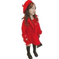 Gitls Autumn Skirt Suit Red Jacket thick Suit Baby Girls Fashion 3pcs Set Coat+vest dress+hat elegant Christmas Clothing