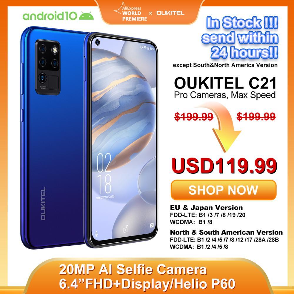 OUKITEL C21 Helio P60 Quad Camera 20MP Selfie 6.4'' FHD+ Hole Punch Screen 4000mAh Octa Core 4+64GB Phone 4G Celular Smartphone(China)
