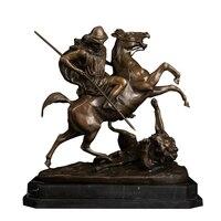 Table decoration bronze soldier riding horse statue sculpture for sale
