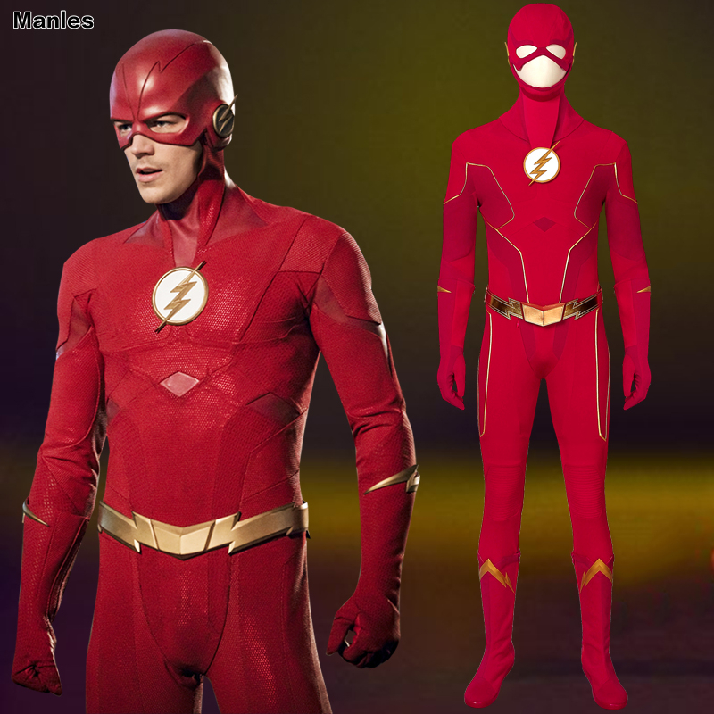 The Flash Season 6 Cosplay Barry Allen Costume The Flash Halloween Arrowverse Adult Jumpsuit Custom Mask Boots Carnival Red Suit