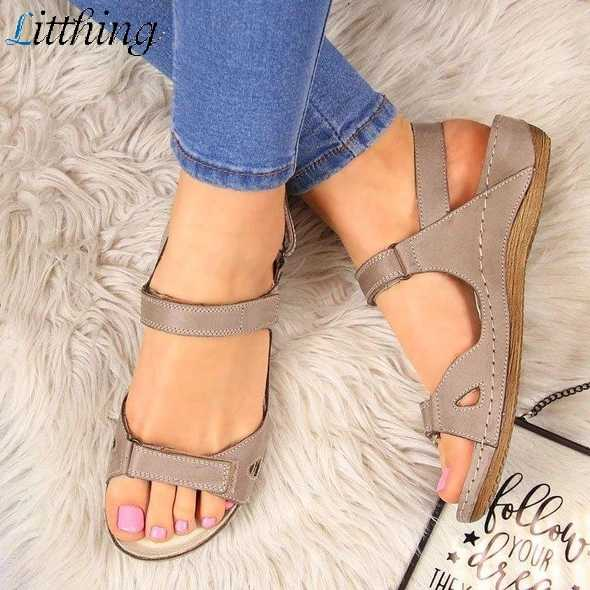 Litthing Summer Flat Sandals Woman 2019 Ladies Fashion Leather  Flat Solid Peep Toe Sandalias Mujer Sandalia Feminina