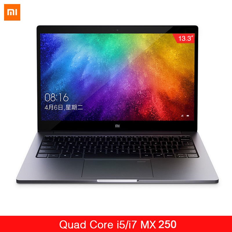 "Original Xiaomi Ultraslim ordinateur portable Air 13.3 ""Intel i5/i7 Quad Core 8GB DDR4 256GB PCle SSD MX250 2GB empreinte digitale reconnaître le PC à la maison"