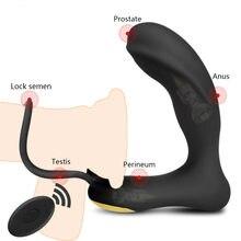 Vibrador masajeador de próstata para hombres, 8 velocidades, doble anillo, tapón anal, inalámbrico, remoto, productos para adultos, retardante de eyaculación, Juguetes sexuales