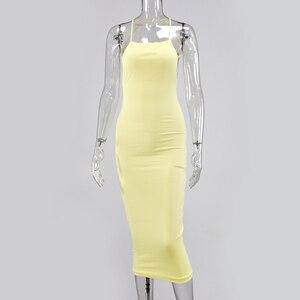 Image 5 - Colysmo 女性エレガントなサマードレスホワイトロングドレスセクシーなクラブ摩耗スパゲッティ背中オレンジカジュアルパーティードレス黄色