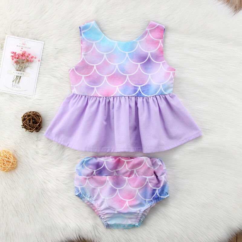 US Toddler Baby Girl Summer Mermaid Tops Shorts Pants Outfits Clothes Sunsuit