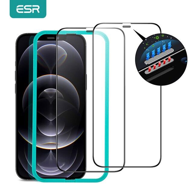 Esr iPhone 12 pro max用のタフレンズ付き保護ガラス,強化ガラス,フルカバー,2個