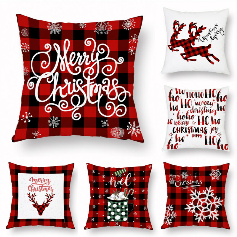 "18/"" Christmas Pillow Case Santa Cotton Linen Sofa Throw Cushion Cover Home Decor"