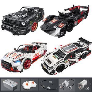 Image 1 - 23009 Ford Mustang Hoonicorn RTR V2 Racing Car with power function led light Technic 20102 MOC 22970 building block bricks Kids