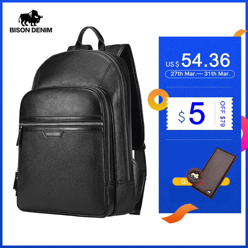 BISON DENIM Genuine Leather Backpack Male 14 Inch Laptop Backpack Travel Backpack Male Fashion Backpack Schoolbag For Men N2337