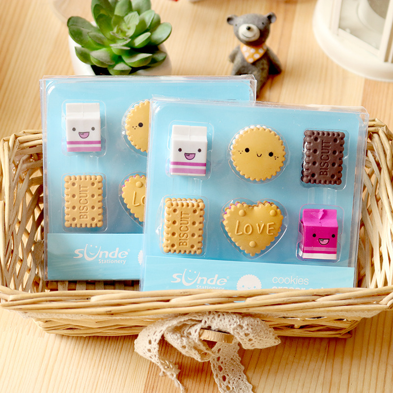 1set Kawaii Eraser Set Cartoon Boxed Eraser Cute Stationery School Girl Student Prize Correction Supplies Party Favor Gift
