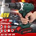 48 v 6500/13000mah 2 velocidade bateria dupla power-brocas chave de fenda recarregável furadeira elétrica sem fio 25 + 3 torque ferramenta de perfuração