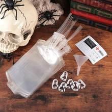 31 pçs sacos de sangue sacos de bebida de plástico halloween festival festa suprimentos clipes adesivo funil acessórios para bebida suco líquido
