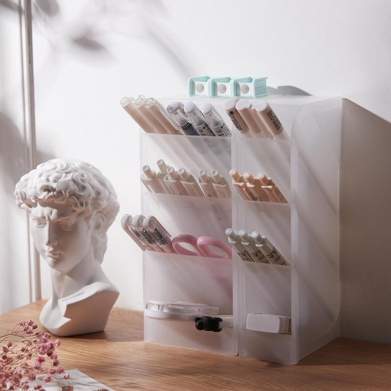 Multifunctional Translucent 4-Grids Pen Holder Desk Organizer Makeup Storage Box Home School Stationery Office Supplies 2020