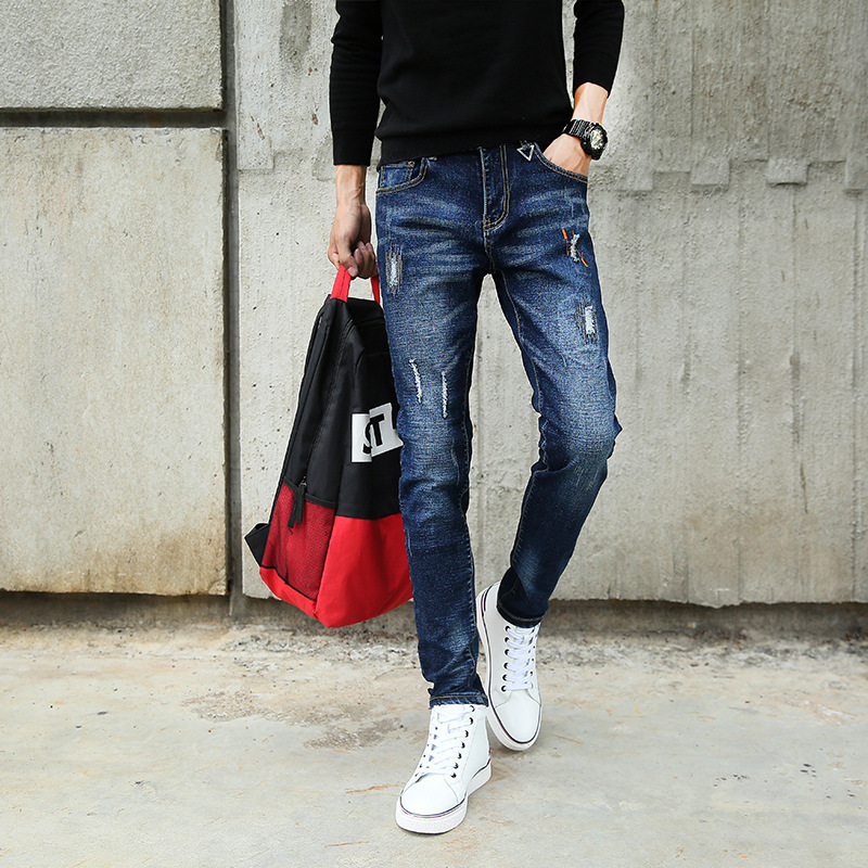 Spring New Style Elasticity Jeans Men's Slim Fit Men Light Straight-leg Black And White With Pattern Casual Long Pants Men's Kor