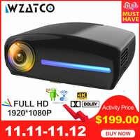 WZATCO C2 1920*1080P Full HD de 45 grados Digital keystone LED proyector android 9,0 Wifi opcional portátil proyector de Casa Beamer