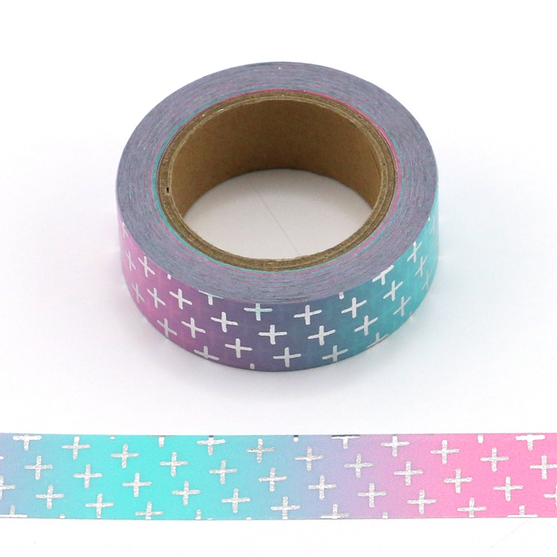 10M Decorative Foil Washi Tape Blue And Pink Cross DIY Scrapbooking Sticker Label Japanese Masking Tape School Office Supply