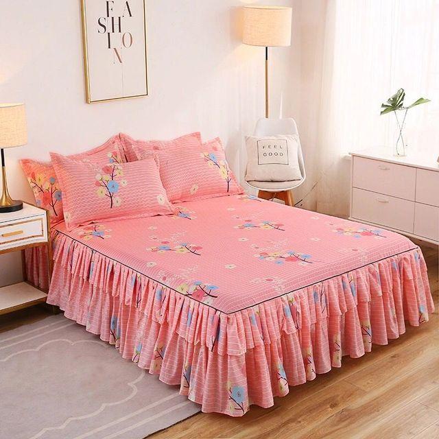 2020 bande dentelle lit jupe + 2 pièces taies doreiller ensemble de literie princesse literie couvre-lits drap de lit pour fille couvre-lit drap de lit