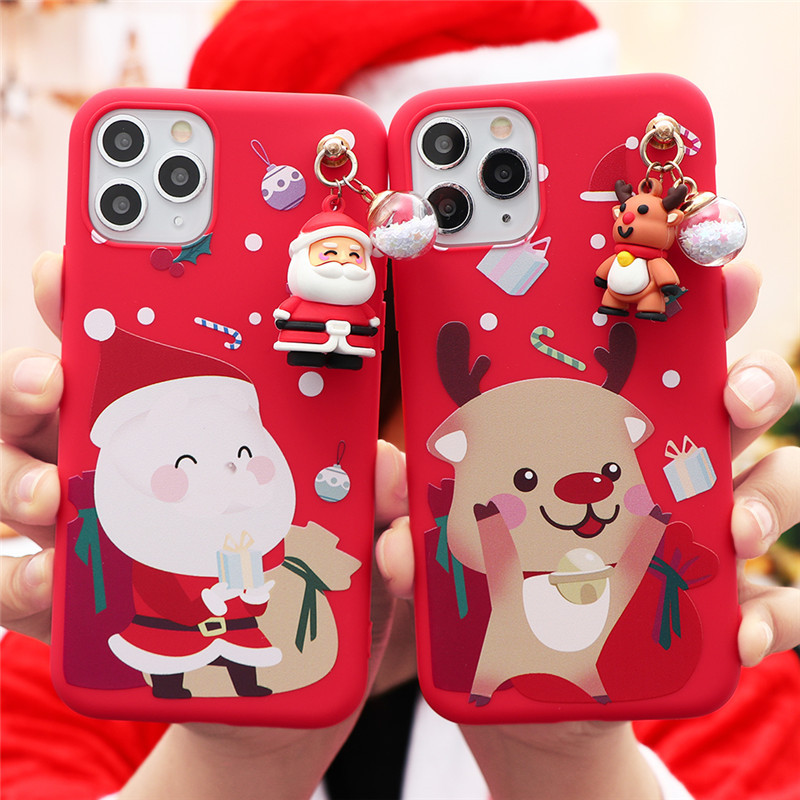 3D Doll Cartoon Christmas Santa Reindeer Tree Gift Case For iPhone 12
