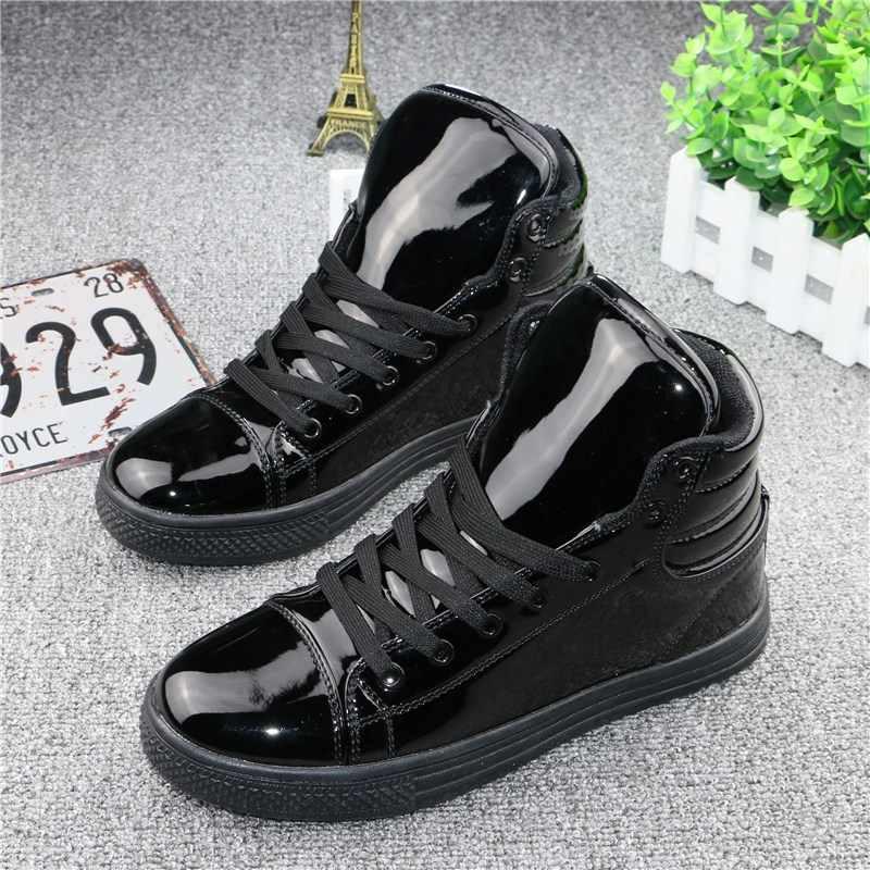 YeddaMavis Schwarz Turnschuhe Frauen Stiefel Frauen Schuhe 2019 Frühling Koreanische Spitze Up High-Top Patent Leder Schuhe Frauen Schuhe frau