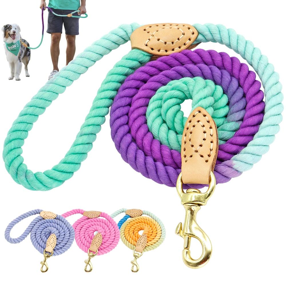 150cm Hondenriem Ronde Katoen Honden Lood Touw Kleurrijke Huisdier Lange Riemen Riem Outdoor Hond Wandelen Training Leads Touwen