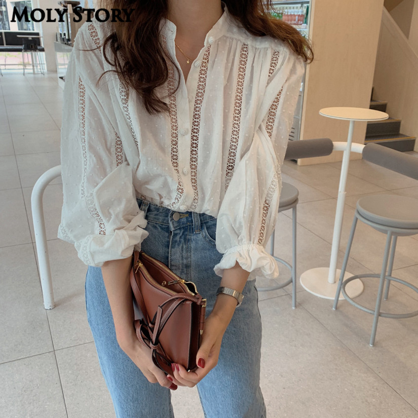 Sexy Openwork Lace Blouse Lantern Sleeve Shirts White Top Women Turtleneck Cotton Shirts Ladies Tops