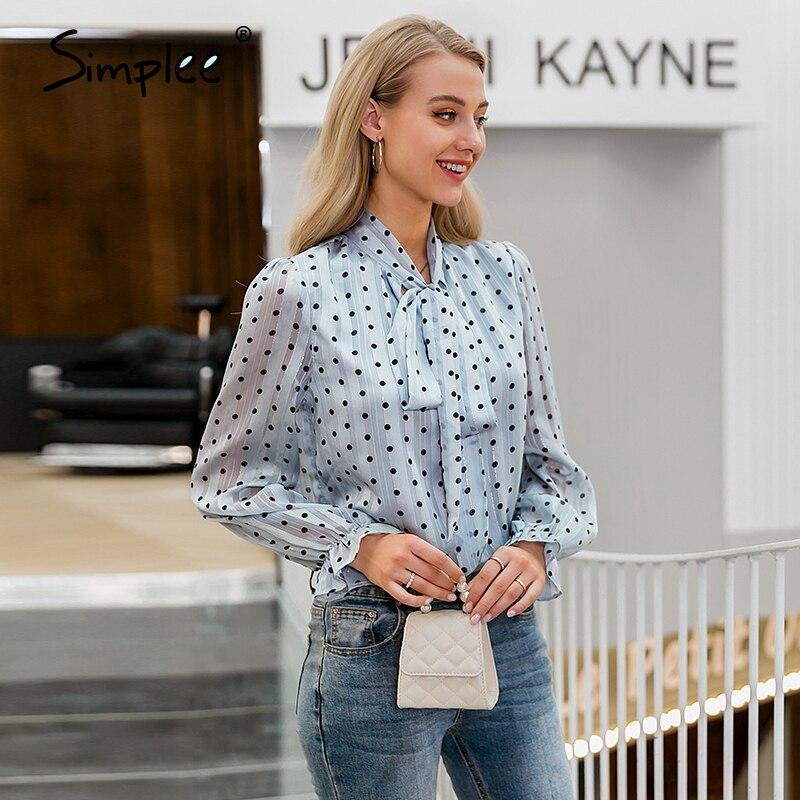 Simplee Casual Dot Long Sleeve Women Blouse Shirt Summer Spring Neck Tie Blouses Shirt Elegant Work Wear Loose Female Tops 2020