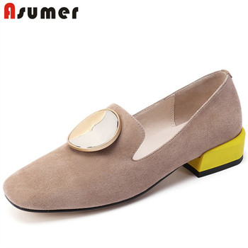 ASUMER 2020 top quality suede leather women pumps round toe Metal decoration single shoes comfortable casual shoes female