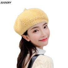 Autumn Beret Hats For Women for Girls British Plaid Classic Winter Vintage Octagonal Wool Caps Flat