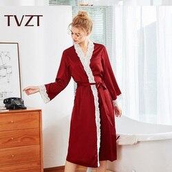 Tvzt Sexy Pajamas Large Size Satin Night Robe Lace Bathrobe Wedding Robes Dressing Gown Women Robes Sleepwear Ladies Bathrobe