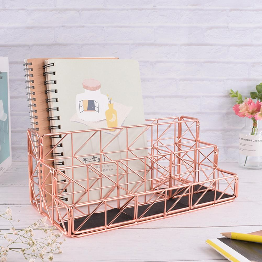 Simple 3 Column Metal Mesh File Holder Document Rack Letter Magazine Desk Organizer Rose Gold Holder Office Stationery Supplies
