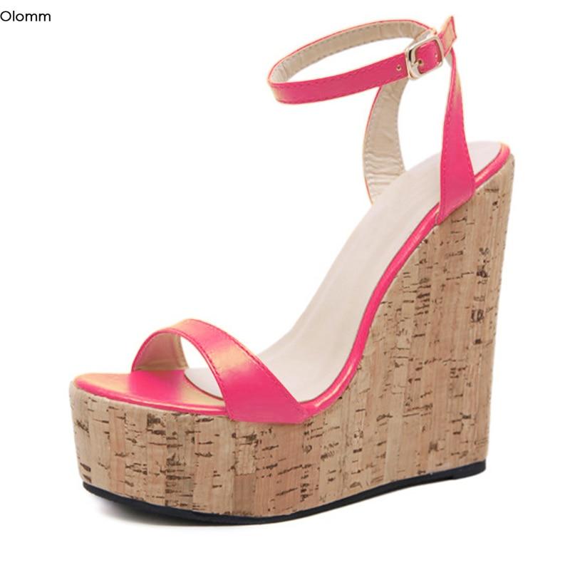 Olomm New Handmade Women Platform Sandals Wedges High Heels Sandals Open Toe Pretty 7 Colors Party Shoes Women US Plus Size 5-15
