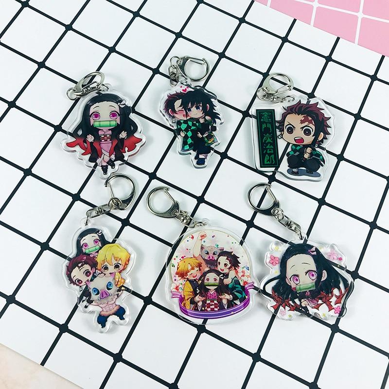 Anime Demon Slayer Keychain Brinco Blade Of Ghost Key Chains Choker Kamado Tanjirou Same Pendant Jewelry Fans Gift