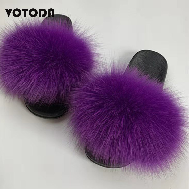 Women Fox Fur Slippers Fashion Fluffy Furry Slides Warm Real Hair Sandals Ladies Casual Non Slip Flat Bottom Home Fur Flip Flops