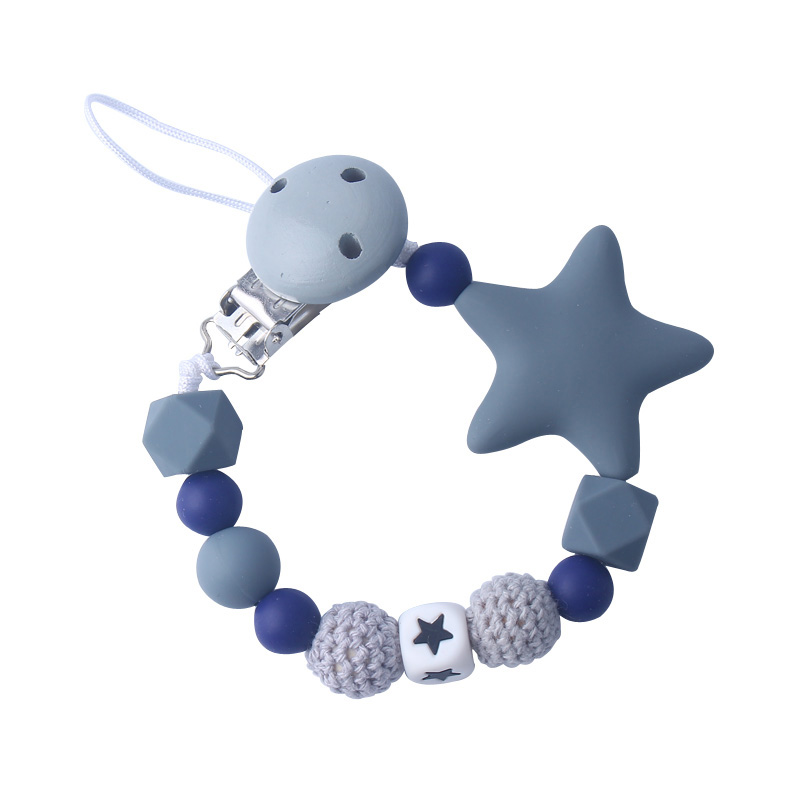1Pcs Silicone Chew Teething Beads Handmade Star Pacifier Clips Leash Strap For Hang Teether Toy