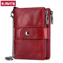 KAVIS تتفاعل 100% جلد طبيعي المرأة المحفظة الإناث Portomonee محفظة نسائية للعملات المعدنية قصيرة الذكور المال حقيبة جودة مصمم الذكور بطاقة صغيرة