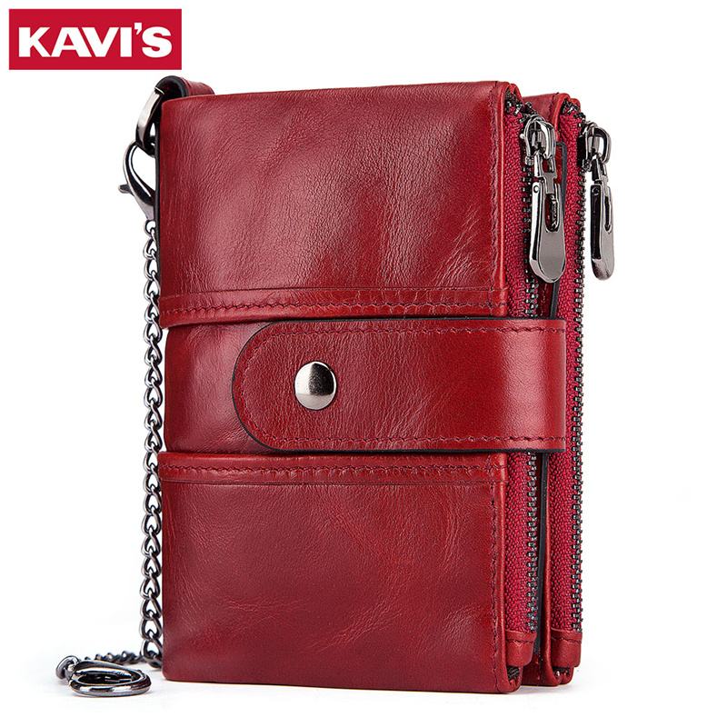 KAVIS Rfid 100% Genuine Leather Women Wallet Female Portomonee Coin Purse Short Male Money Bag Quality Designer Male Card Small