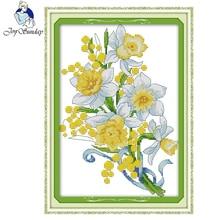 Joy Sunday Cross Stitch Flowers Beautiful Printed Needlework